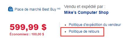 Return policy link screenshot